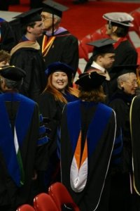 This is Cat Pausé, at her PhD graduation. She finished her PhD at Texas Tech University in December 2007. She worked under Dr. Gwendolyn T. Sorell in the Human Development & Family Studies program. Her dissertation explored weight identity in fat women.